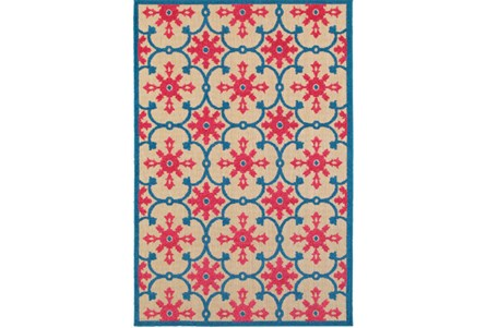 94X130 Outdoor Rug-Fuschia And Blue Medallion