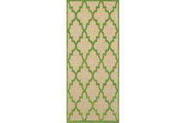 27X90 Outdoor Rug-Lime Quatrefoil