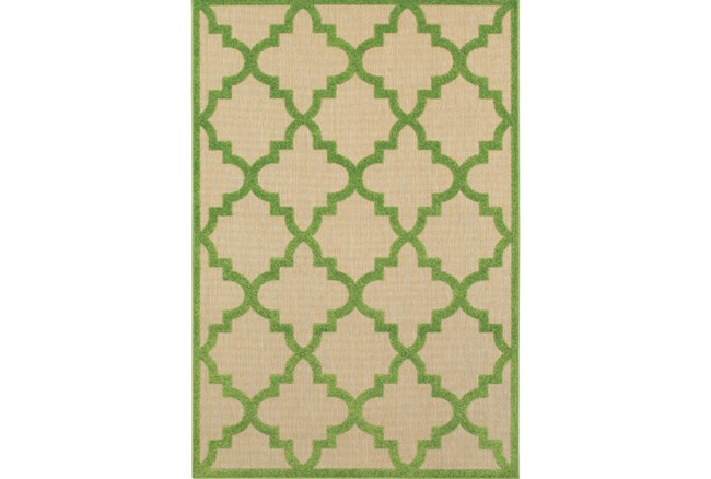 79X114 Outdoor Rug-Lime Quatrefoil - 360