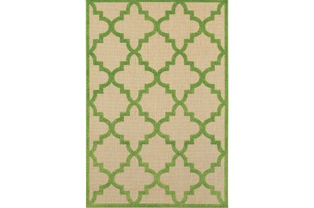 94X130 Outdoor Rug-Lime Quatrefoil - Main