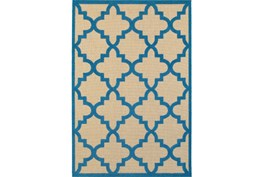 27X90 Outdoor Rug-Blue Quatrefoil