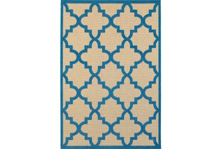 36X65 Outdoor Rug-Blue  Quatrefoil