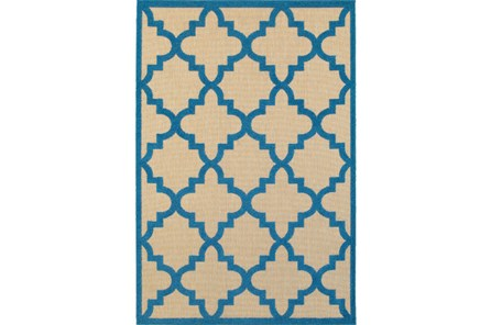 63X90 Outdoor Rug-Blue Quatrefoil - Main