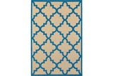 79X114 Outdoor Rug-Blue Quatrefoil - Signature