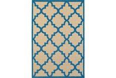 79X114 Outdoor Rug-Blue Quatrefoil
