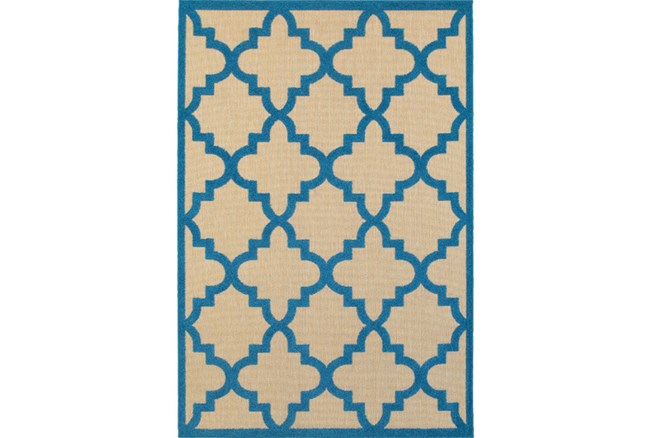 79X114 Outdoor Rug-Blue Quatrefoil - 360