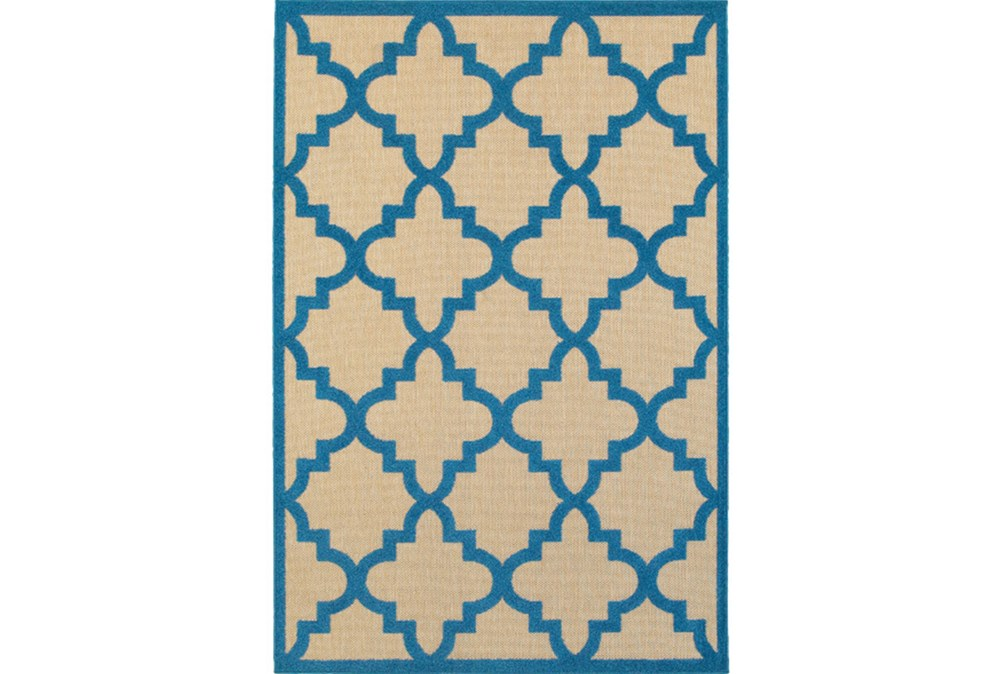 94X130 Outdoor Rug-Blue Quatrefoil