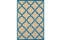"7'8""x10'8"" Outdoor Rug-Blue Quatrefoil"