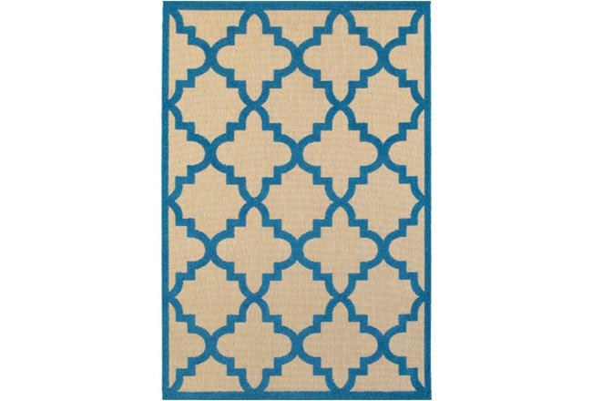 94X130 Outdoor Rug-Blue Quatrefoil - 360