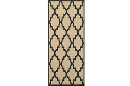 27X90 Outdoor Rug-Black Quatrefoil
