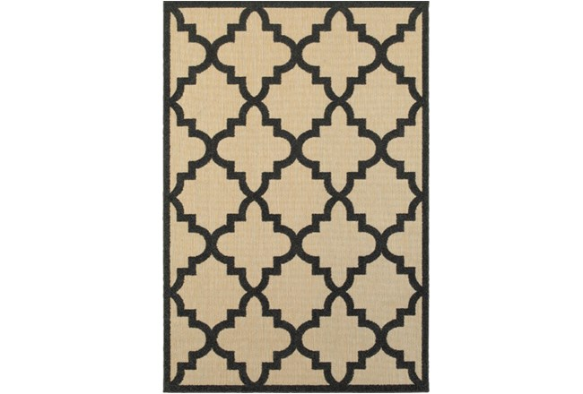 36X65 Outdoor Rug-Black  Quatrefoil - 360