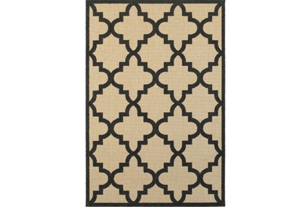 63X90 Outdoor Rug-Black Quatrefoil