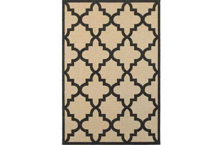 63X90 Outdoor Rug-Black Quatrefoil - Main