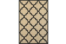79X114 Outdoor Rug-Black Quatrefoil