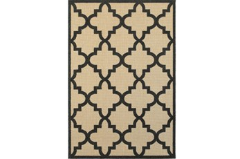 94X130 Outdoor Rug-Black Quatrefoil