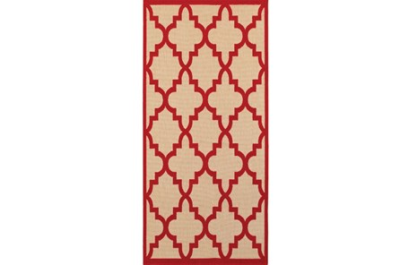 27X90 Outdoor Rug-Crimson Quatrefoil