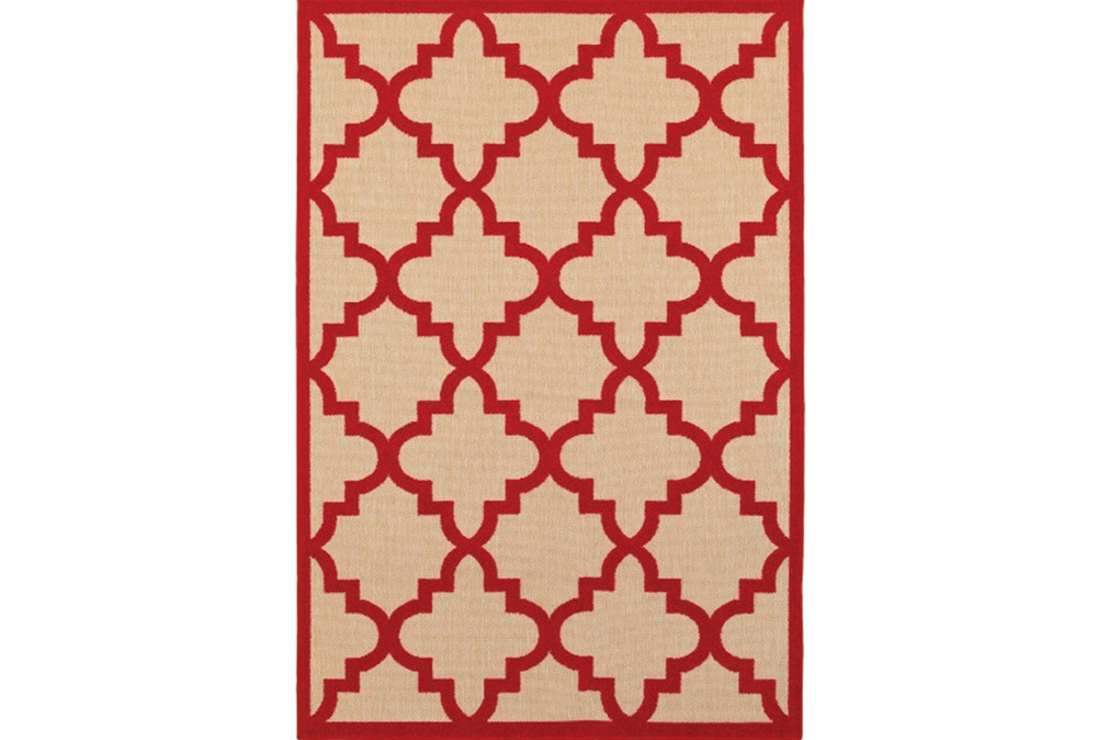 "1'9""x3'3"" Outdoor Rug-Crimson Quatrefoil"