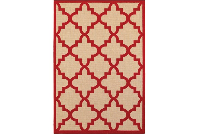 "1'9""x3'3"" Outdoor Rug-Crimson Quatrefoil - 360"