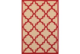 94X130 Outdoor Rug-Crimson Quatrefoil