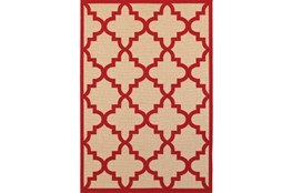 "7'8""x10'8"" Outdoor Rug-Crimson Quatrefoil"