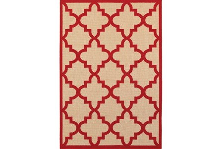118X154 Outdoor Rug-Crimson Quatrefoil