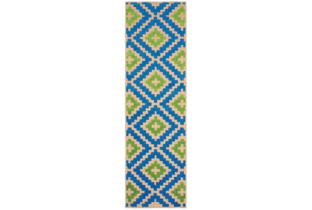 """2'3""""x7'5"""" Outdoor Rug-Lime And Blue Birds Eye"""