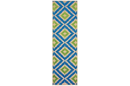 27X90 Outdoor Rug-Lime And Blue Birds Eye