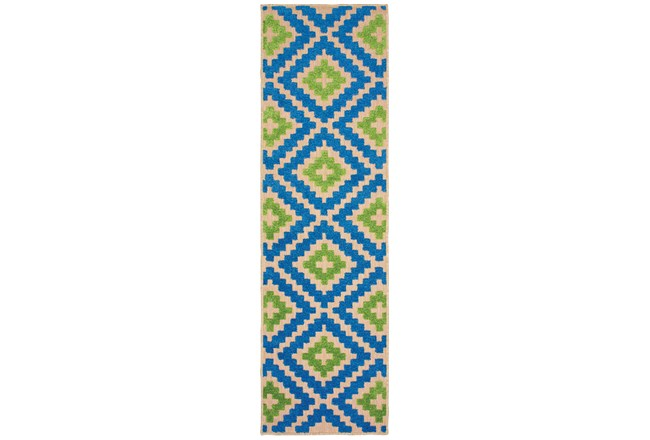 """2'3""""x7'5"""" Outdoor Rug-Lime And Blue Birds Eye - 360"""