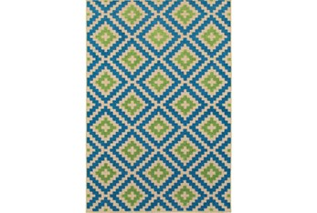 """3'x5'4"""" Outdoor Rug-Lime And Blue Birds Eye"""