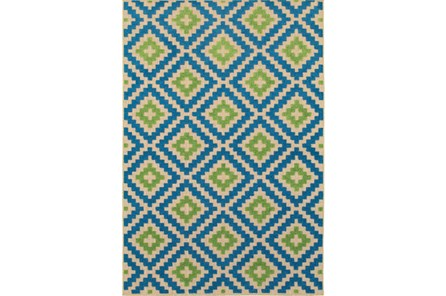 36X65 Outdoor Rug-Lime And Blue Birds Eye