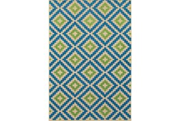 """5'3""""x7'5"""" Outdoor Rug-Lime And Blue Birds Eye"""
