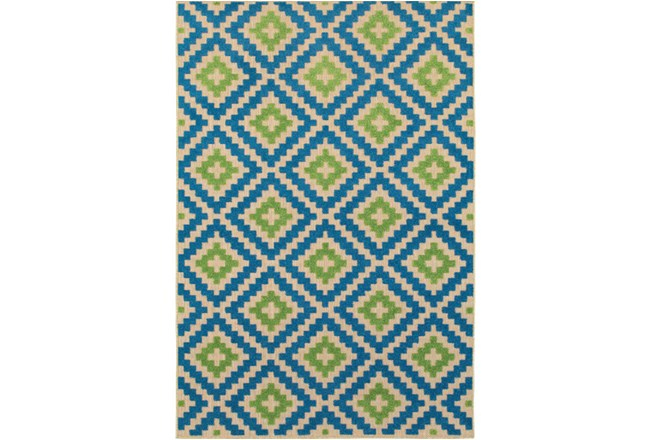 79X114 Outdoor Rug-Lime And Blue Birds Eye - 360