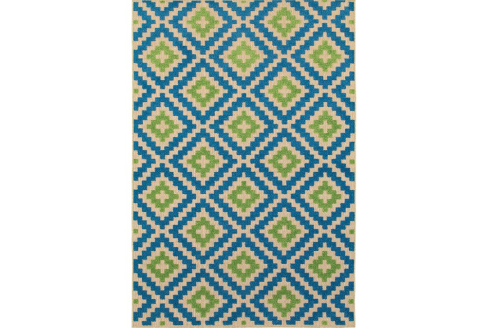 "7'8""x10'8"" Outdoor Rug-Lime And Blue Birds Eye"