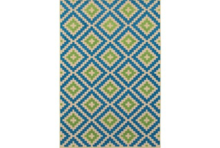 94X130 Outdoor Rug-Lime And Blue Birds Eye