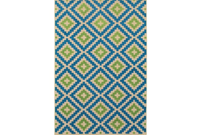 118X154 Outdoor Rug-Lime And Blue Birds Eye - 360