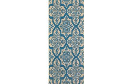 "2'3""x7'5"" Outdoor Rug-Blue Aztec"