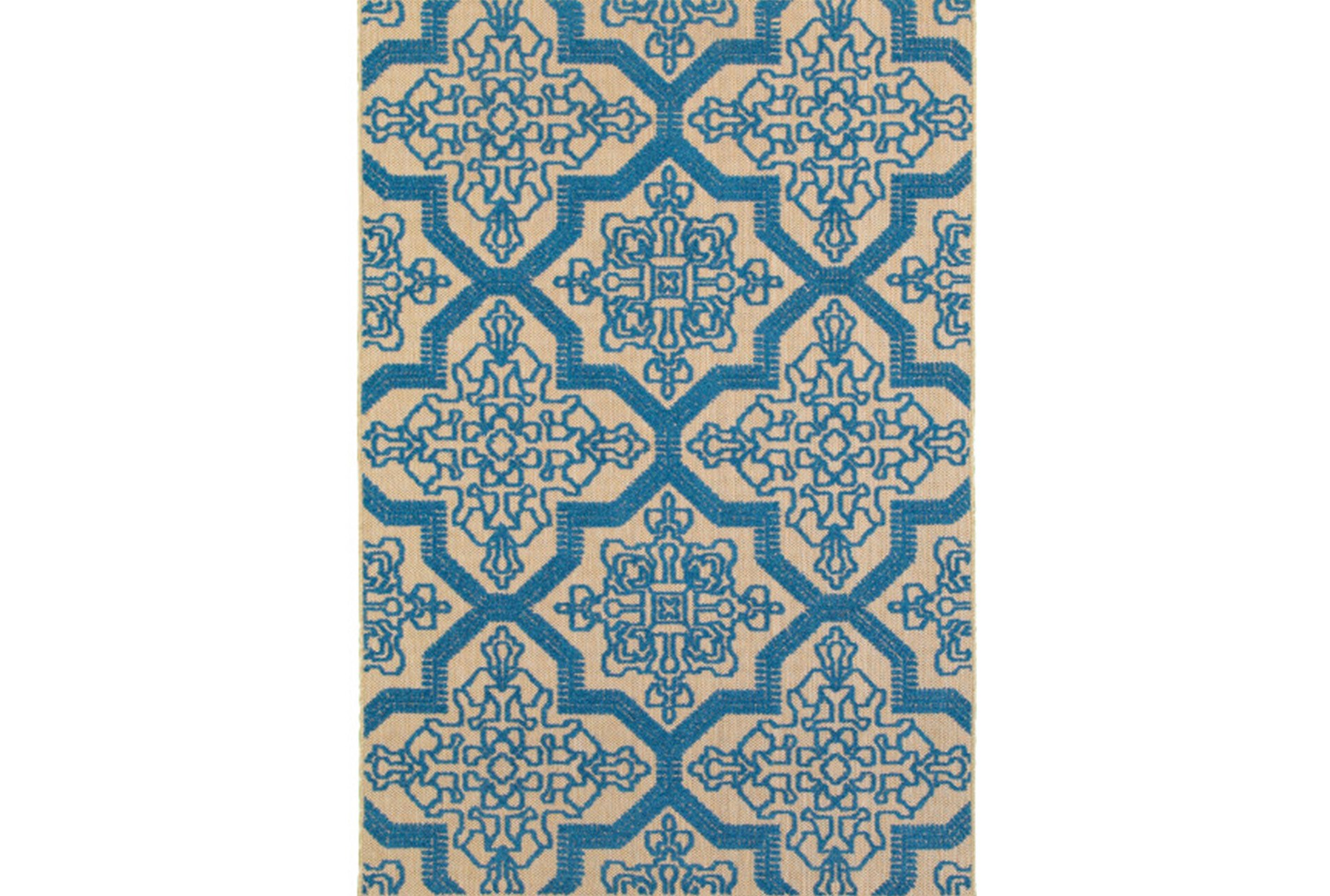 63X90 Outdoor Rug-Blue Aztec | Living Spaces