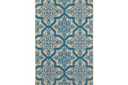79X114 Outdoor Rug-Blue Aztec