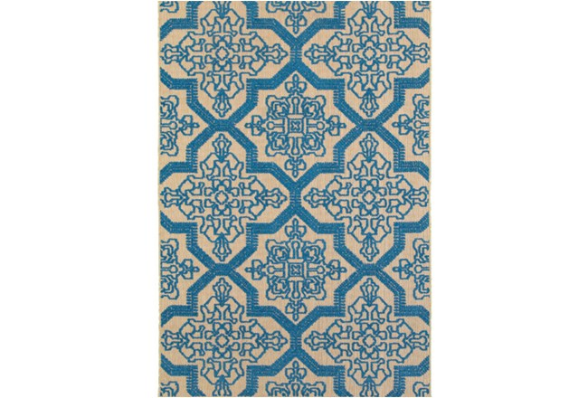 79X114 Outdoor Rug-Blue Aztec - 360