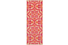 27X90 Outdoor Rug-Fuschia And Mandarin Aztec