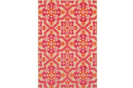 "5'3""x7'5""  Outdoor Rug-Fuschia And Mandarin Aztec"