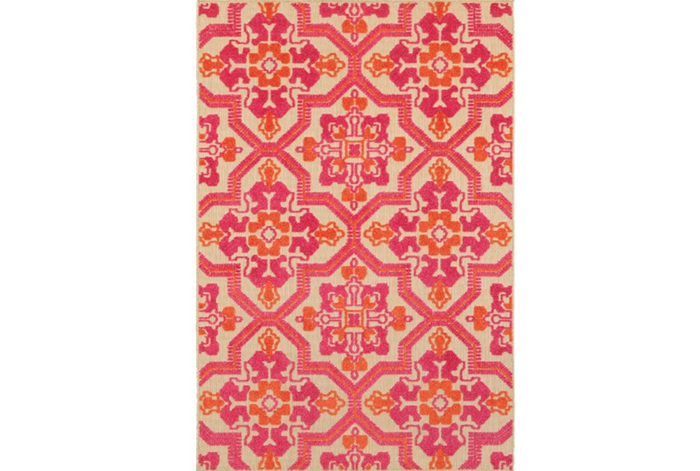 79X114 Outdoor Rug-Fuschia And Mandarin Aztec