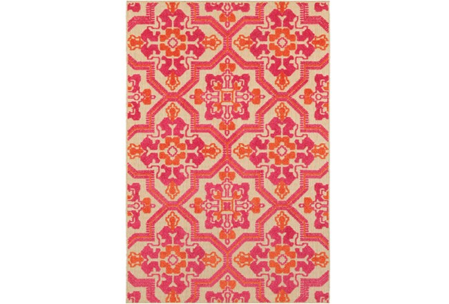 79X114 Outdoor Rug-Fuschia And Mandarin Aztec - 360