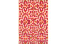 94X130 Outdoor Rug-Fuschia And Mandarin Aztec