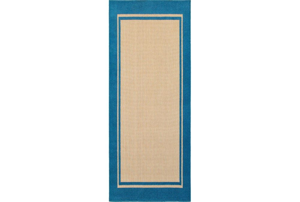 27X90 Outdoor Rug-Blue Double Border