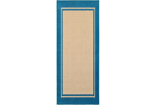 27X90 Outdoor Rug-Blue Double Border - 360