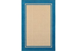 "5'3""x7'5"" Outdoor Rug-Blue Double Border"