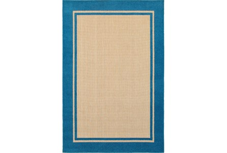 79X114 Outdoor Rug-Blue Double Border