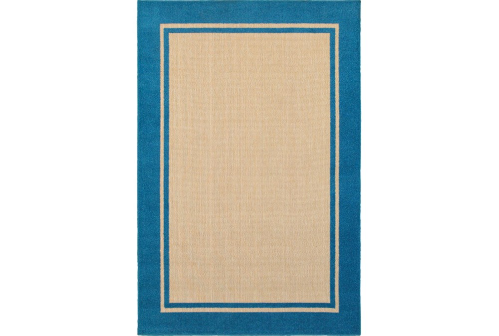 "7'8""x10'8"" Outdoor Rug-Blue Double Border"
