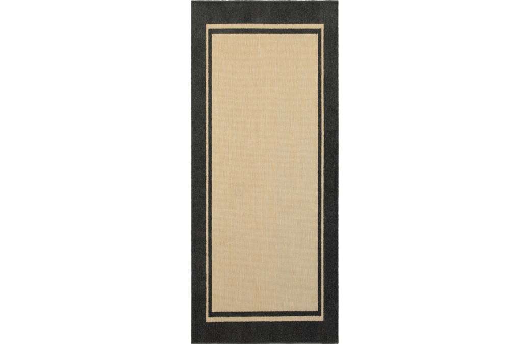 "2'3""x7'5"" Outdoor Rug-Black Double Border"